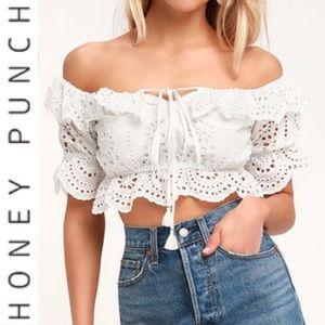 🆕 Honey Punch White Eyelet Off Shoulder Crop Top